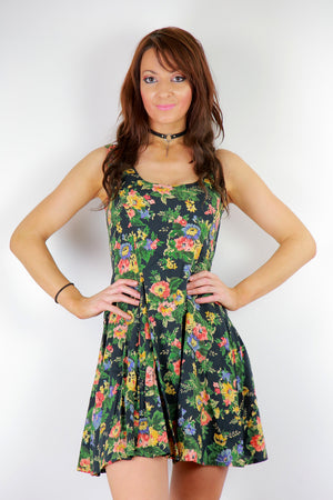 Vintage 90s grunge green floral skater dress sleeveless mini dress