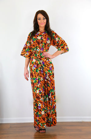 Wrap caftan dress 70s boho hippie Authentic vintage Hawaiian dress  M