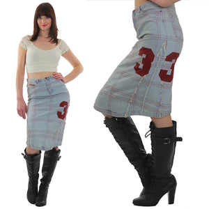 Vintage 90s Grunge Cotton denim patchwork skirt - shabbybabe  - 5
