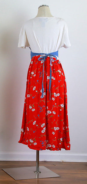 Vintage 80s 1980s boho color block red floral w denim tie back vest dress M