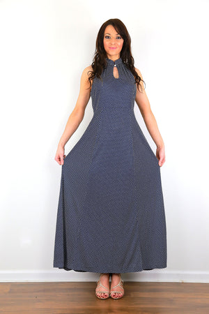 Polka dot maxi dress Genuine vintage 70s high neck navy long dress
