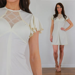 White mini dress boho cream party dress vintage 70s sheer lace dress S