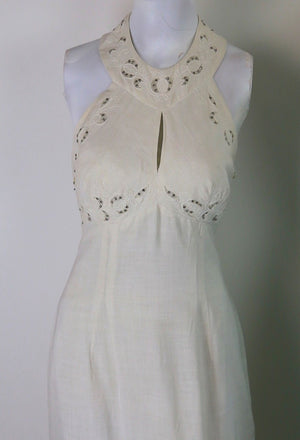 Vintage 60s 70s white halter dress rhinestone trim open back M