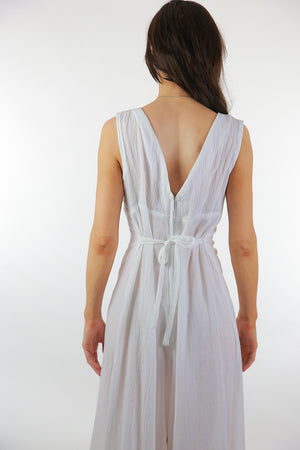 Boho white Palazzo jumpsuit sheer gauze sleeveless wide leg