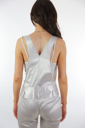 90s white satin jumpsuit grunge coveralls rocker disco fitted party cocktail S