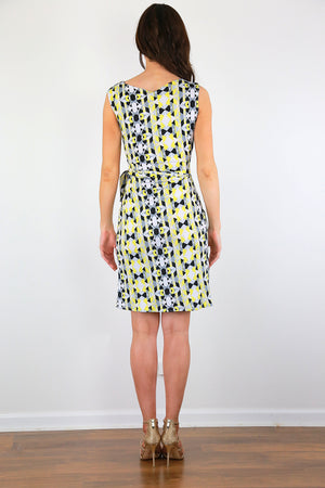 Abstract summer wrap dress
