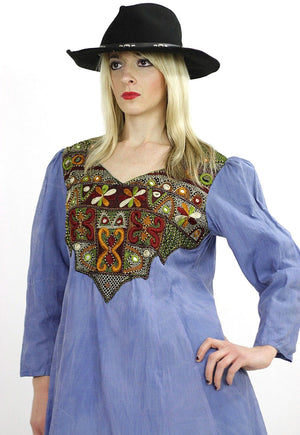 Vintage 70s Boho Hippie embroidered mirror India dress - shabbybabe  - 4