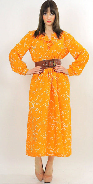 Vintage 70s Orange Polkadot Boho Gypsy Maxi Dress - shabbybabe  - 1