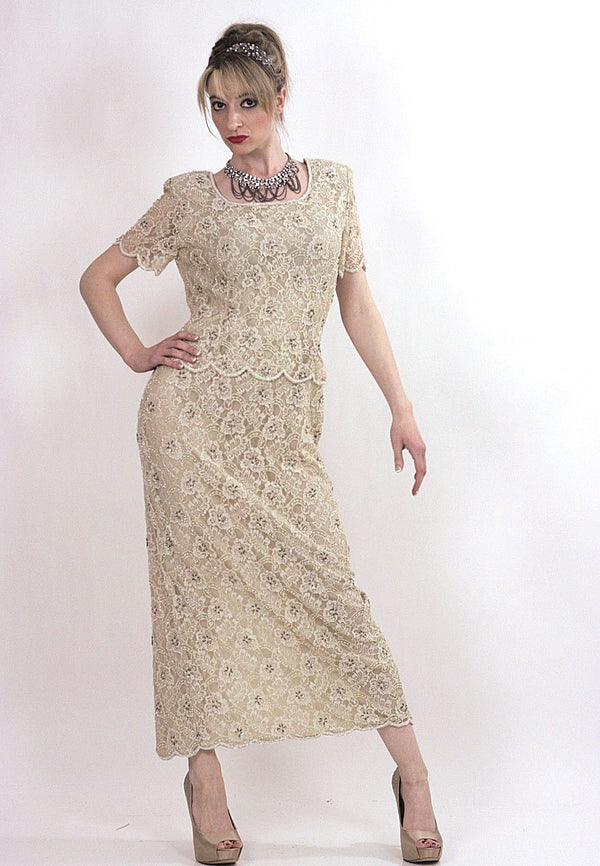 80s cream silk beaded party maxi dress - shabbybabe  - 1