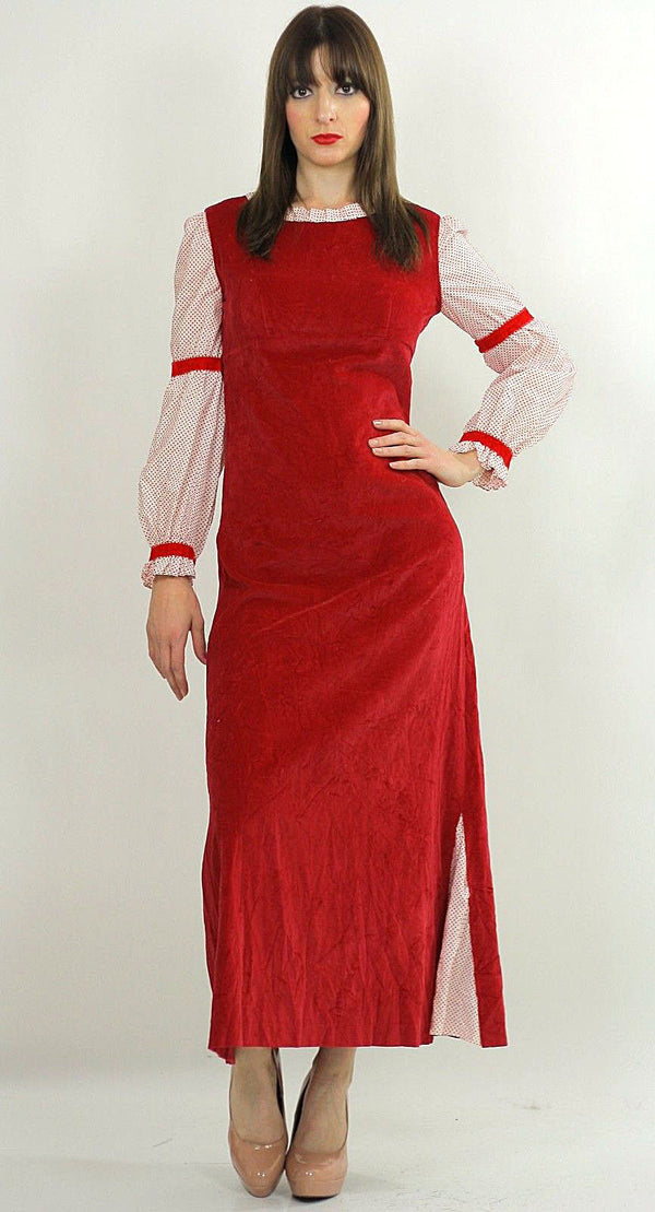 Vintage 70s Boho Hippie Red Velveteen party maxi dress - shabbybabe  - 1