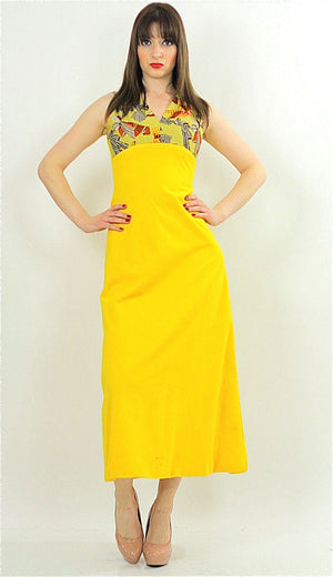 Vintage 60s 70s Hippie Boho yellow mod maxi dress - shabbybabe  - 2