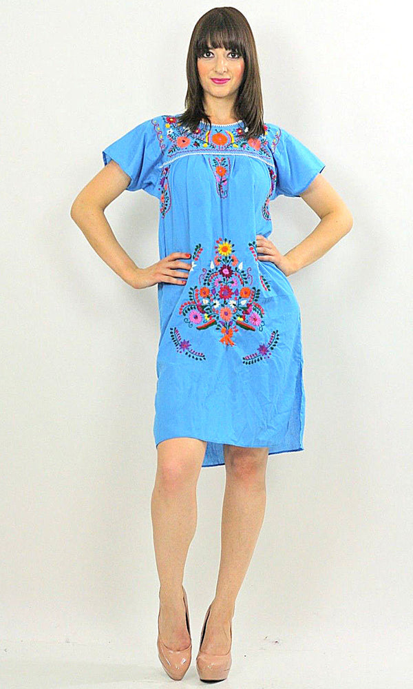 Vintage 70s Mexican Oaxacan floral embroidered dress - shabbybabe  - 1