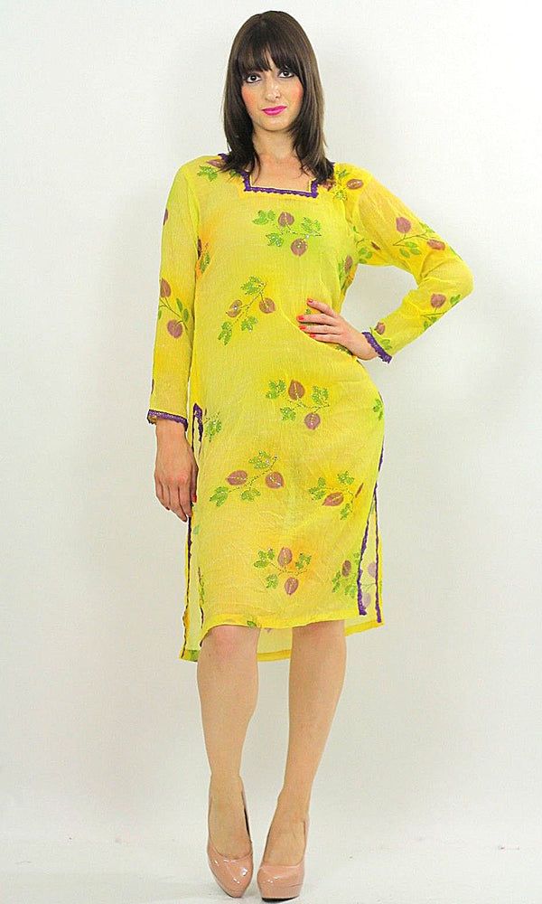 70s Sequin Beaded Neon Sheer Floral Dress Tunic top - shabbybabe  - 1