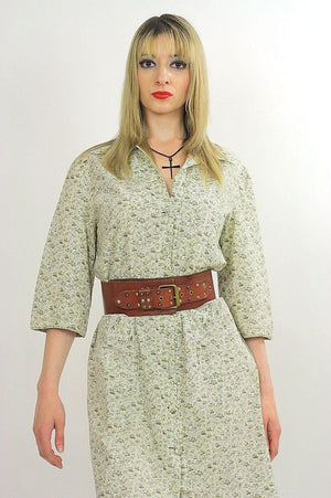 Vintage 70s boho hippie floral mini shirt dress - shabbybabe  - 2