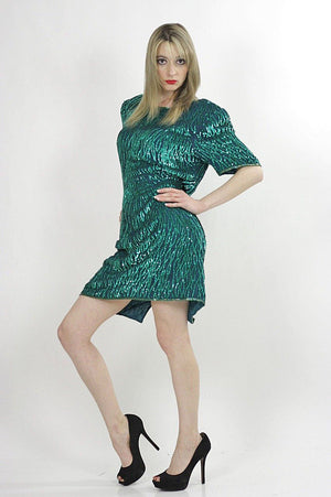 80s Green Sequin beaded party dress - shabbybabe  - 2