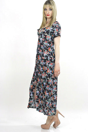 70s mini floral sheer Boho prairie maxi dress - shabbybabe  - 3