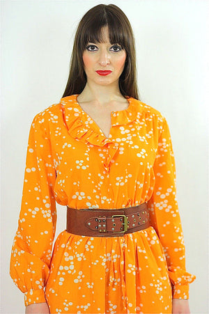 Vintage 70s Orange Polkadot Boho Gypsy Maxi Dress - shabbybabe  - 2