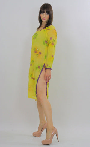 70s Sequin Beaded Neon Sheer Floral Dress Tunic top - shabbybabe  - 2