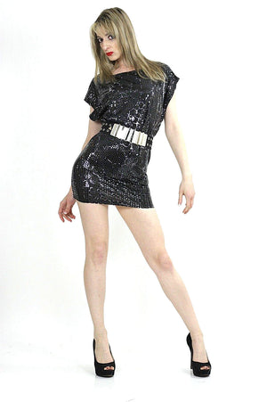 Black sequin beaded spandex party mini dress - shabbybabe  - 2