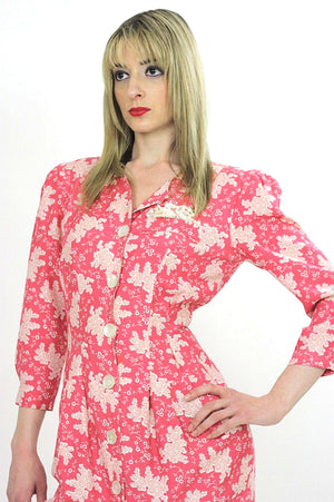 Vintage 80s Boho pink floral mini shirt dress - shabbybabe  - 3