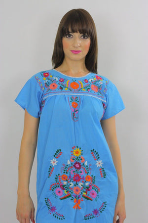 Vintage 70s Mexican Oaxacan floral embroidered dress - shabbybabe  - 3