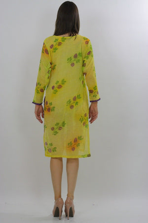 70s Sequin Beaded Neon Sheer Floral Dress Tunic top - shabbybabe  - 3
