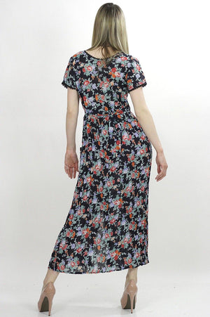 70s mini floral sheer Boho prairie maxi dress - shabbybabe  - 4