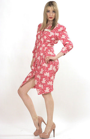 Vintage 80s Boho pink floral mini shirt dress - shabbybabe  - 1