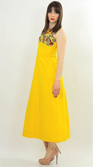 Vintage 60s 70s Hippie Boho yellow mod maxi dress - shabbybabe  - 4