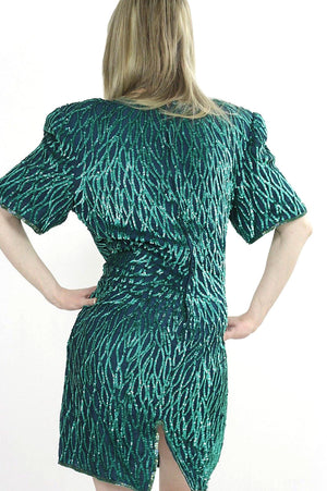 80s Green Sequin beaded party dress - shabbybabe  - 3