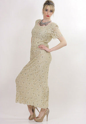 80s cream silk beaded party maxi dress - shabbybabe  - 4