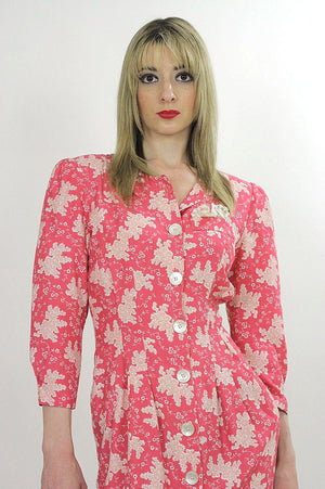 Vintage 80s Boho pink floral mini shirt dress - shabbybabe  - 4