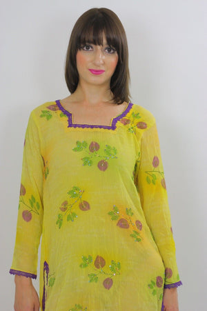 70s Sequin Beaded Neon Sheer Floral Dress Tunic top - shabbybabe  - 4
