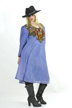 Vintage 70s Boho Hippie embroidered mirror India dress - shabbybabe  - 5