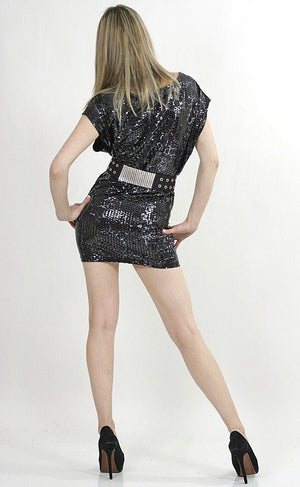 Black sequin beaded spandex party mini dress - shabbybabe  - 4