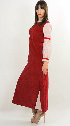 Vintage 70s Boho Hippie Red Velveteen party maxi dress - shabbybabe  - 4