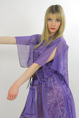Vintage 70s Boho hippie sheer angel sleeve dress - shabbybabe  - 4