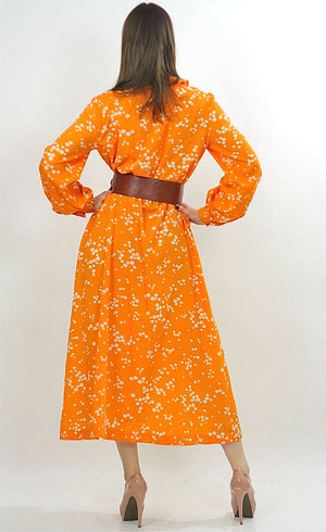 Vintage 70s Orange Polkadot Boho Gypsy Maxi Dress - shabbybabe  - 3