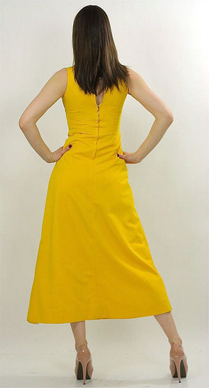 Vintage 60s 70s Hippie Boho yellow mod maxi dress - shabbybabe  - 5