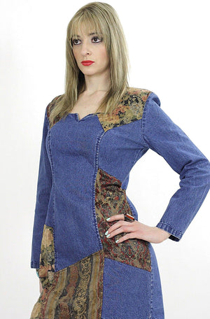 Vintage 90s grunge patchwork denim mini dress - shabbybabe  - 3