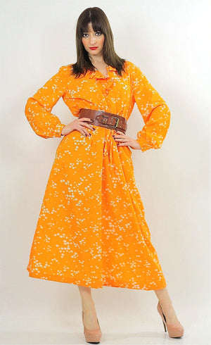 Vintage 70s Orange Polkadot Boho Gypsy Maxi Dress - shabbybabe  - 5