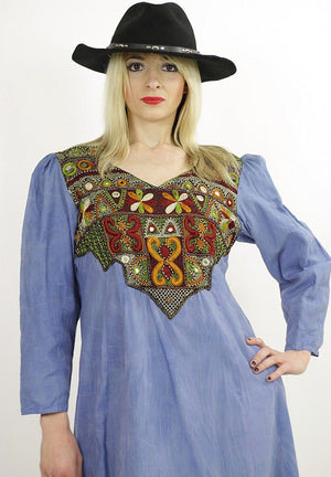 Vintage 70s Boho Hippie embroidered mirror India dress - shabbybabe  - 2