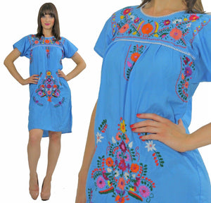 Vintage 70s Mexican Oaxacan floral embroidered dress - shabbybabe  - 5