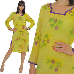 70s Sequin Beaded Neon Sheer Floral Dress Tunic top - shabbybabe  - 5