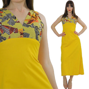 Vintage 60s 70s Hippie Boho yellow mod maxi dress - shabbybabe  - 6