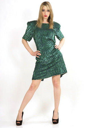80s Green Sequin beaded party dress - shabbybabe  - 5
