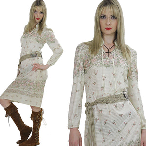 Vintage 70s Boho hippie sheer border print mini dress - shabbybabe  - 5