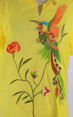 Genuine vintage 80s boho hippie embroidered Bird of Paradise tunic