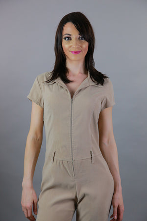 Vintage 80s boho ultra suede jumpsuit romper short sleeve zip up beige