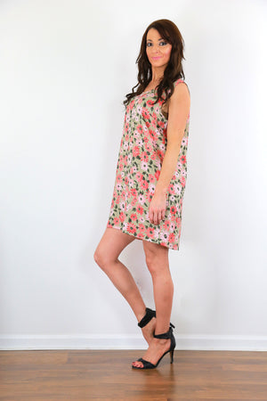Tropical floral dress 90s grunge floral mini loose fit oversized sleeveless dress M/L